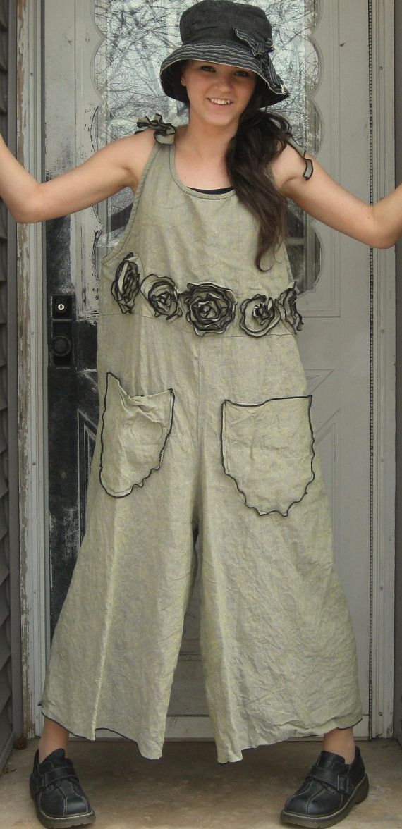 Green Crossweave Linen Rose Overalls M от sarahclemensclothing, $179.00