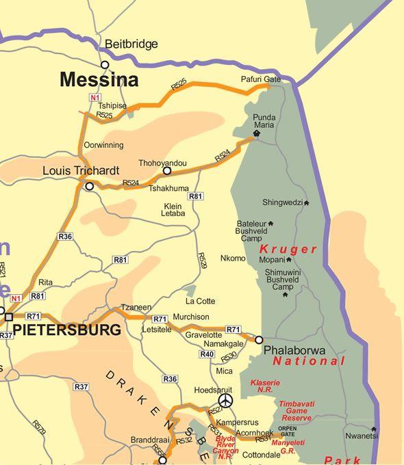 Johannesburg to Kruger Park Route Map Kruger National Park Punda Maria & Phalaborwa Gate
