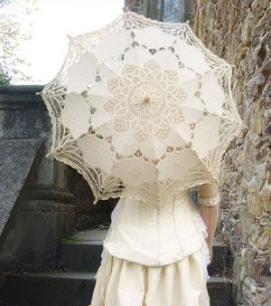 "New Handmade Decoration Lace Parasol Umbrella for Bridal Wedding Party 30"" ivory"