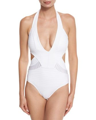 Parallels+Plunging+Halter+One-Piece+Swimsuit,+White+by+JETS+by+Jessika+Allen+at+Neiman+Marcus.