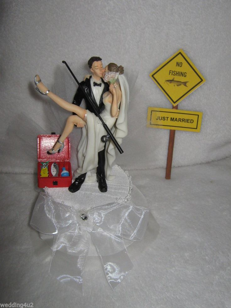 FUNNY WEDDING SEXY BRIDE GROOM NO SIGN FISHING CAKE TOPPER