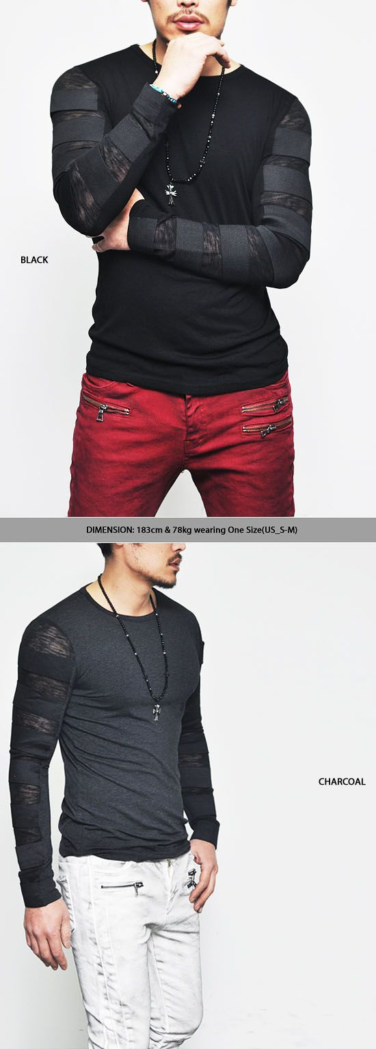 Tops :: Tees :: Re) Runway Edge Elastic Bandage Strap-Tee 144 - Mens Fashion Clothing For An Attractive Guy Look