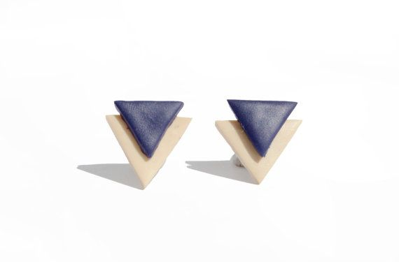 Navy blue beige colour block geometric studs Double by Beesnsun, $12.00