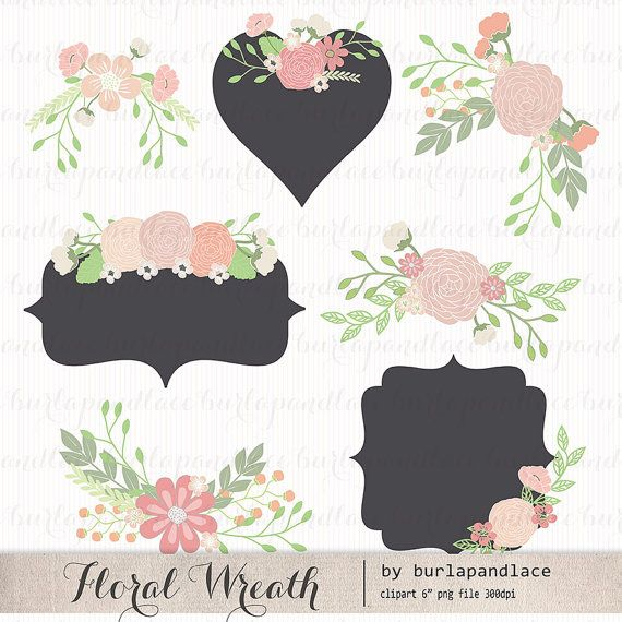 Hey, I found this really awesome Etsy listing at https://www.etsy.com/listing/180655174/wedding-floral-wreath-clip-art-hand