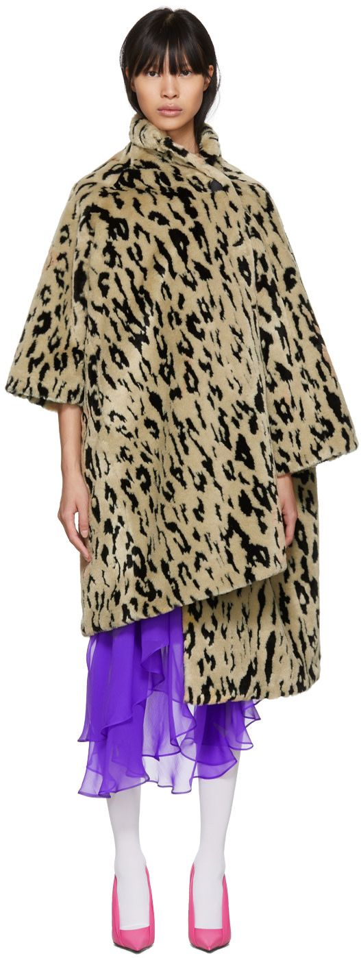 Balenciaga - Beige Leopard Pulled Opera Coat