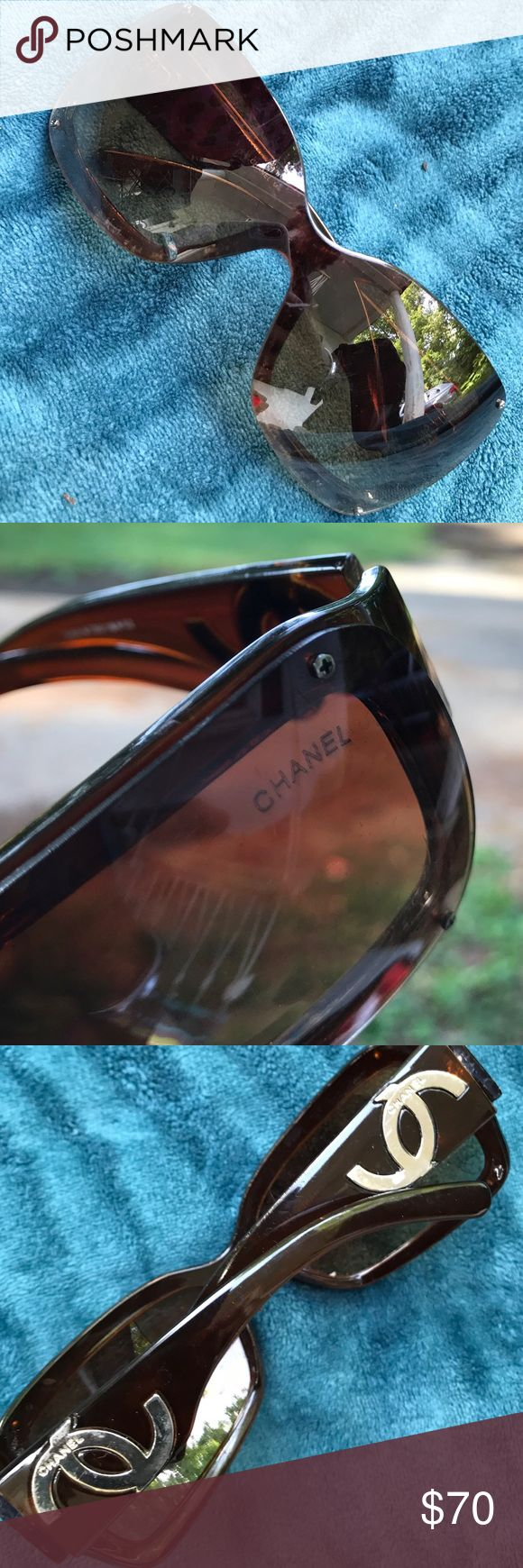 Chanel Sunglasses #5066 Brown Chanel iridescent lens(scratches on lenses) view is still immaculate. Peeling on frames in two places still held very tightly together and great visibility. Authenticated by model number as well as CHANEL emblem inside of the lens all the way through and can't be scraped off. I love them you will too for this decent price CHANEL Accessories Glasses