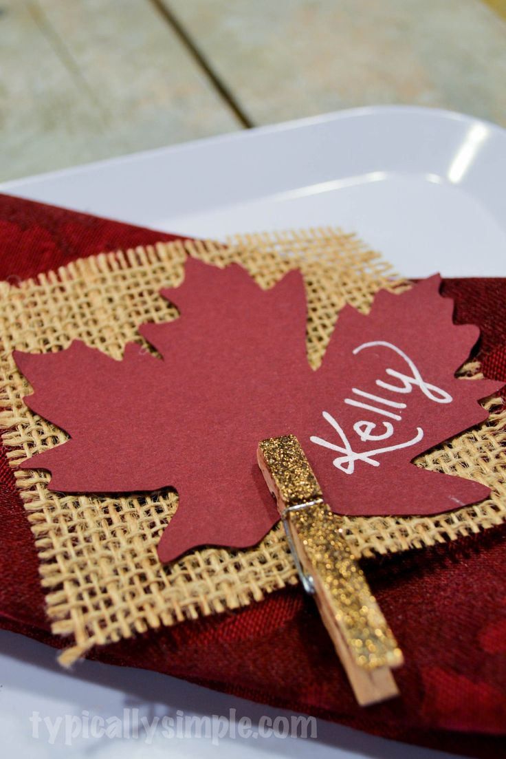 Thanksgiving Place Cards {Burlap}