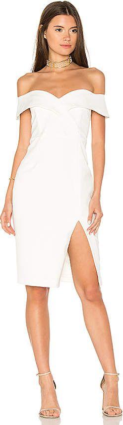 Bardot Bella Midi Dress | white dress | lace dress | bridal party dress | bachelorette party dress | rehearsal dinner dress | wedding rehearsal dress | white dress