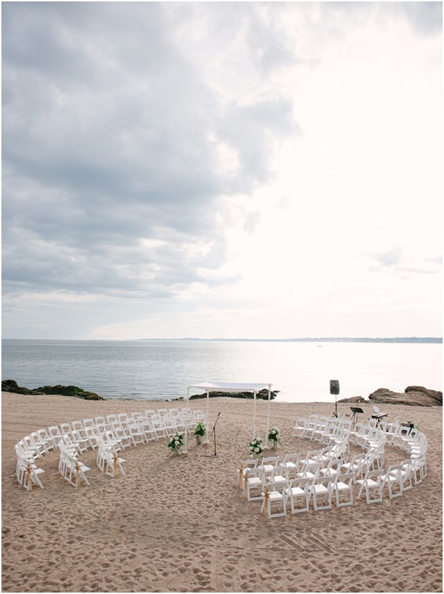 ceremony set up in circle on beach Stefanie Kapra Photography