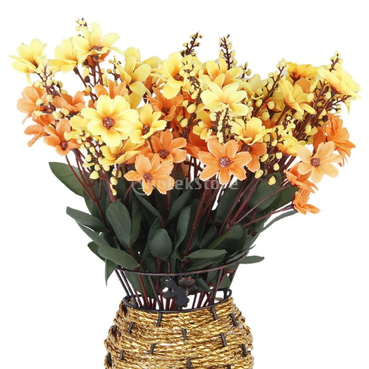 1 bunch fake daisy artificial flower bouquet home office decor yellow and orange