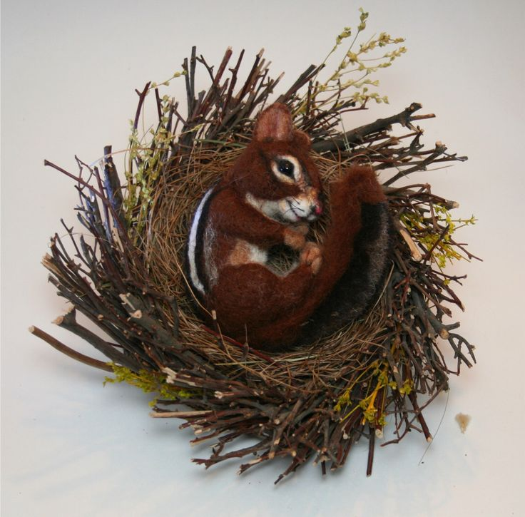 Reserved for Chume4… Natural Spring Twig Nest baby Chipmunk One of a Kind Alpaca Needle felted Sculpture by Stevi T