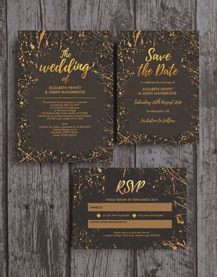 irish wedding invitations templates%0A Beautiful modern wedding stationery in an abstract style with black and  copper   gold paint details and modern calligraphy style fonts
