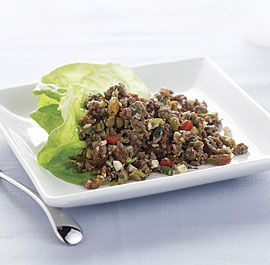 Beef Picadillo: A Latin American and Caribbean favorite, picadillo is a savory-sweet ground beef filling that's delicious wrapped in lettuce leaves. It's also good in tacos, quesadillas, and omelets. Via FineCooking