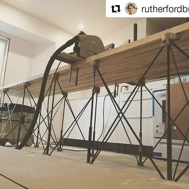 This #jobsite #woodshop #workspace brought to us by @rutherfordbuilds and two of his favorite #CentipedeSupport units! Repost:    @festool_usa working double duty today with the #tracksaw and @centipedetool assisting with the #butcherblock work. #floodinghappens so #designbuild it better. ・・・  with @repostapp    #CentipedeTool #portable #workshop #workshop #mobile #worktable #temporary #workstation #stand #platform #sawhorse #carpentry #joinery #woodworking #contractor #construction…