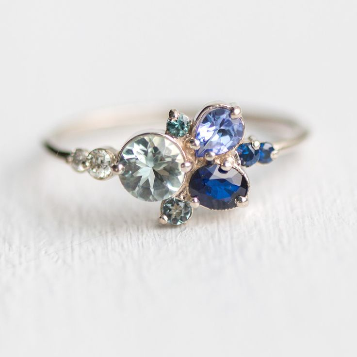 Clear Water Cluster Ring shown in 14k white gold