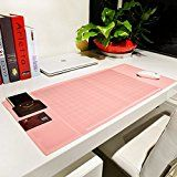 """Amazon.com: Ranbow Innovative Huge Gaming Mouse pad, Anti-slip Desk Mouse Mat, Natural Gel Desk Protector with Pockets, Dividing Rule, Pen Groove, 27.7""""*12.6""""*0.16"""" Table Organizer in Pink: Computers & Accessories"""