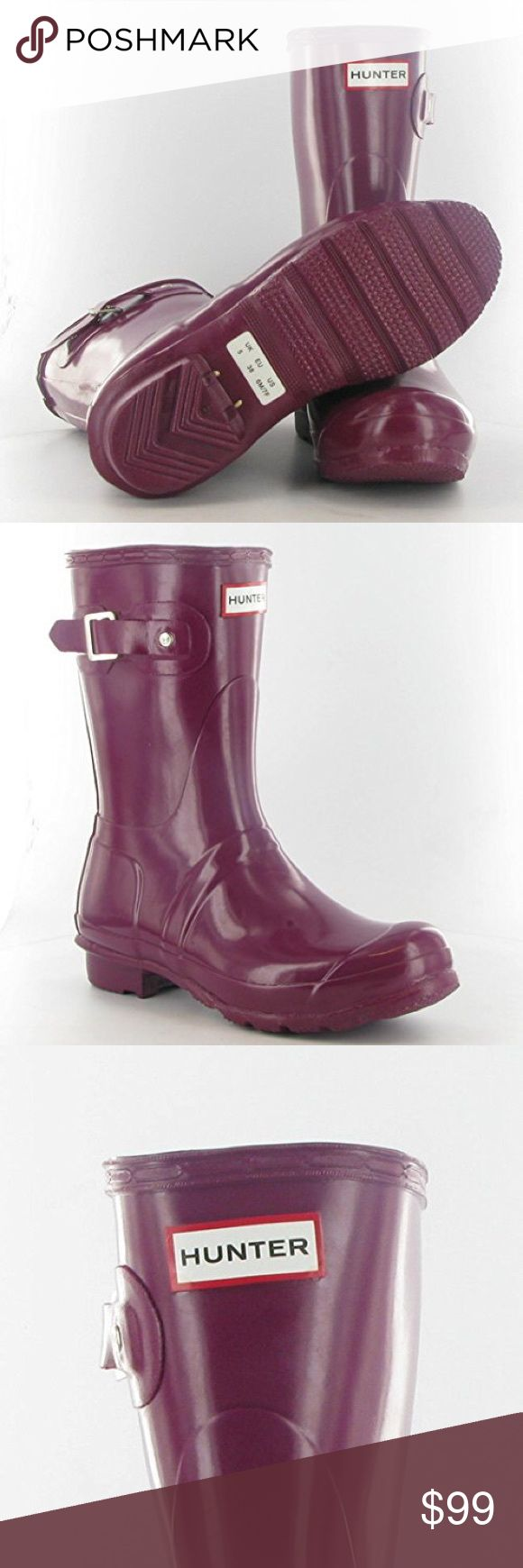 Hunter Women's Original Gloss Short Wellies Violet Hunter Women's Original Gloss Short Wellies Violet W23700  WOMENS HUNTER WELLINGTON BOOTS ORIGINAL SHORT RAIN SNOW WELLIES LADIES   Hunter Women's Original Gloss Short Wellies Violet W23700 size 7 This short rain boot is handcrafted from 28 parts, in the same form as the Hunter Original Tall, with a high gloss finish.  Handcrafted Waterproof Textile lining Original calendered outsole Adjustable strap to enhance fit Natural rubber NO TRADES…