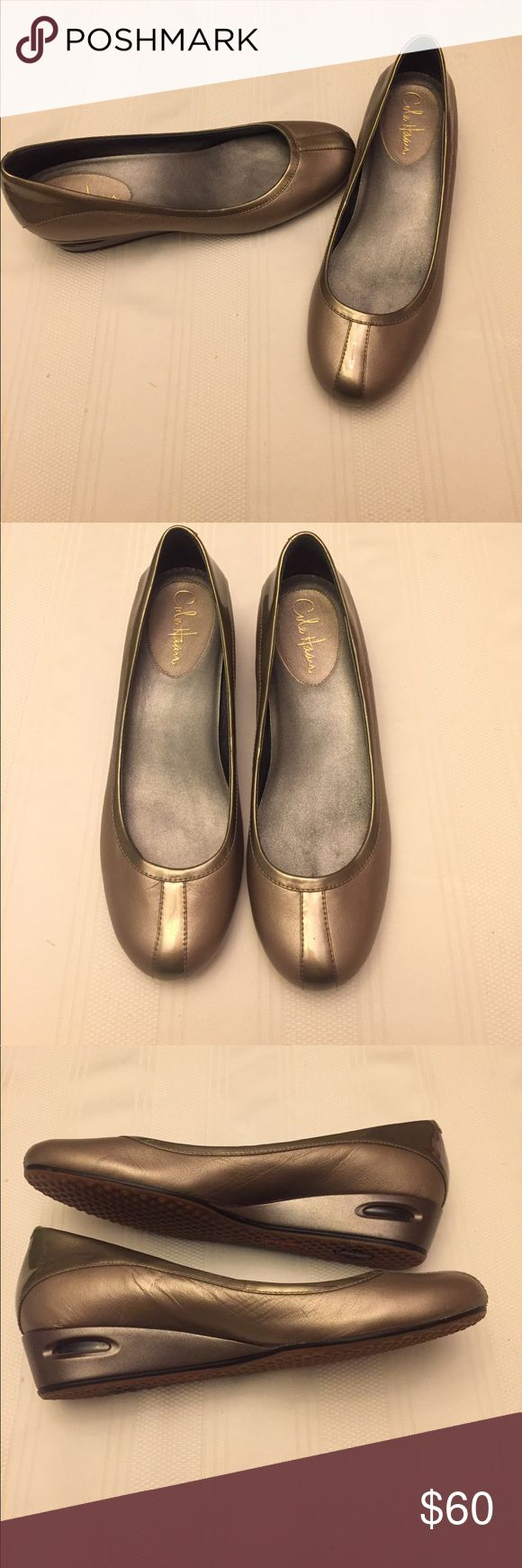 Cole Haan Air Bria Metallic ballet wedge like new! Adorable and comfortable. These Cole Haan Air Bria ballet wedges are practically new. No signs of wear. They are a shiny metallic gold. Cole Haan Shoes Wedges
