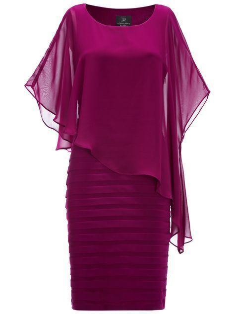 Adrianna Papell Chiffon Drape Dress, Crushed Berry