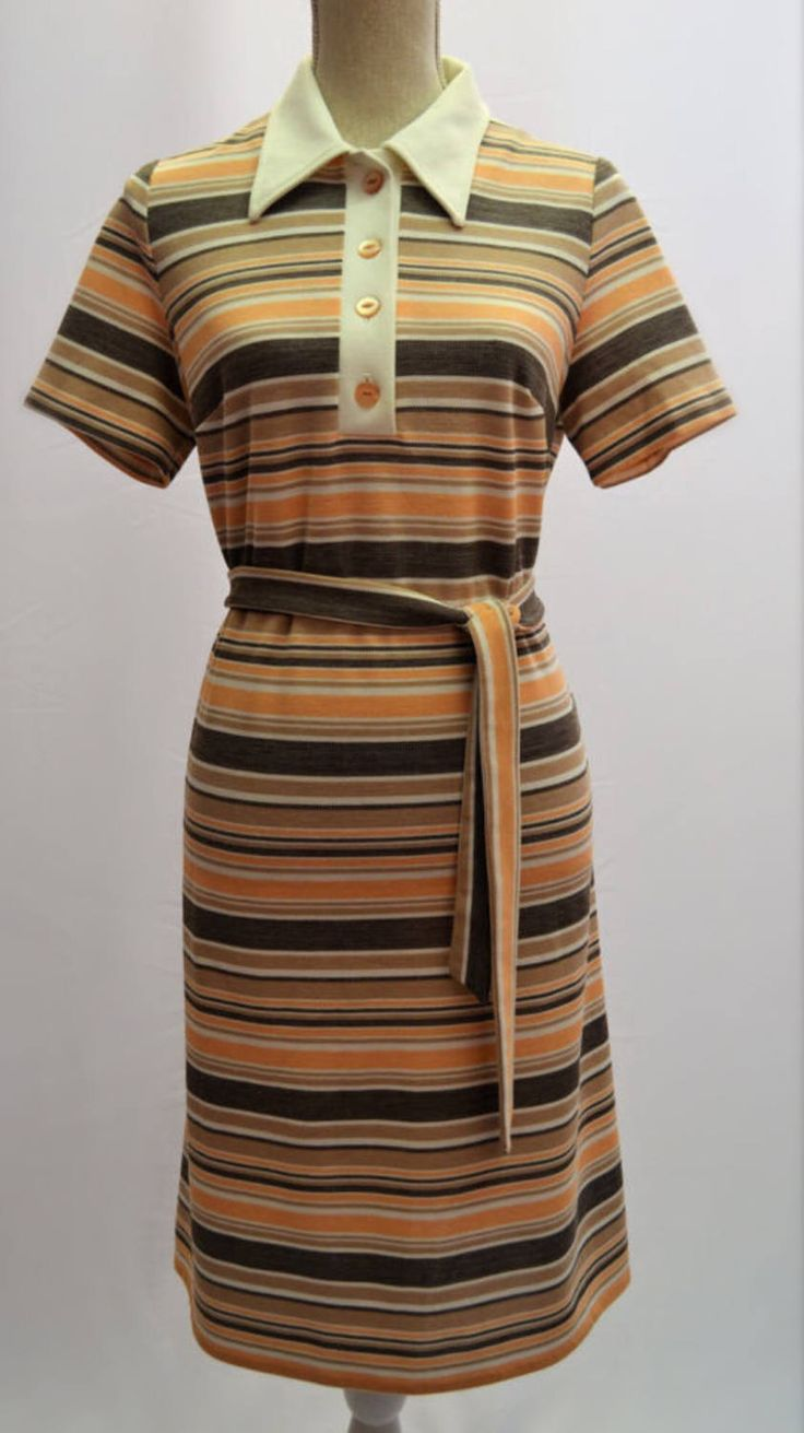 1960's dress by St Micheal's stripped in UK vintage size 16 with original belt! by VintageVanityGB on Etsy