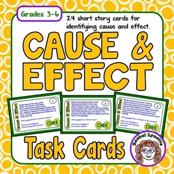 Use these 24 cards to help your students identify cause and effect relationships in text. Each card features a short passage and asks students to identify both a cause and an effect from the text.