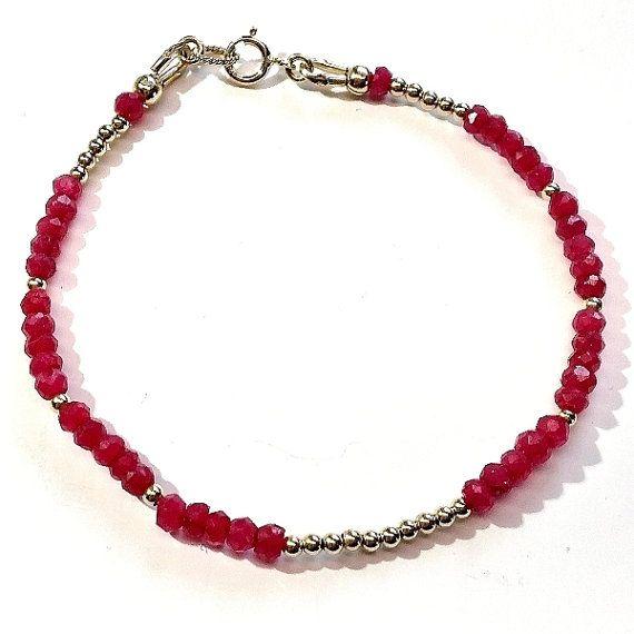 Natural genuine ruby gold braceletdelicate bracelets by Emmalishop
