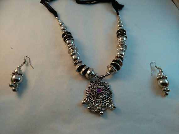 Handmade beautiful Silver Plated Tribal look Necklace by akshainie