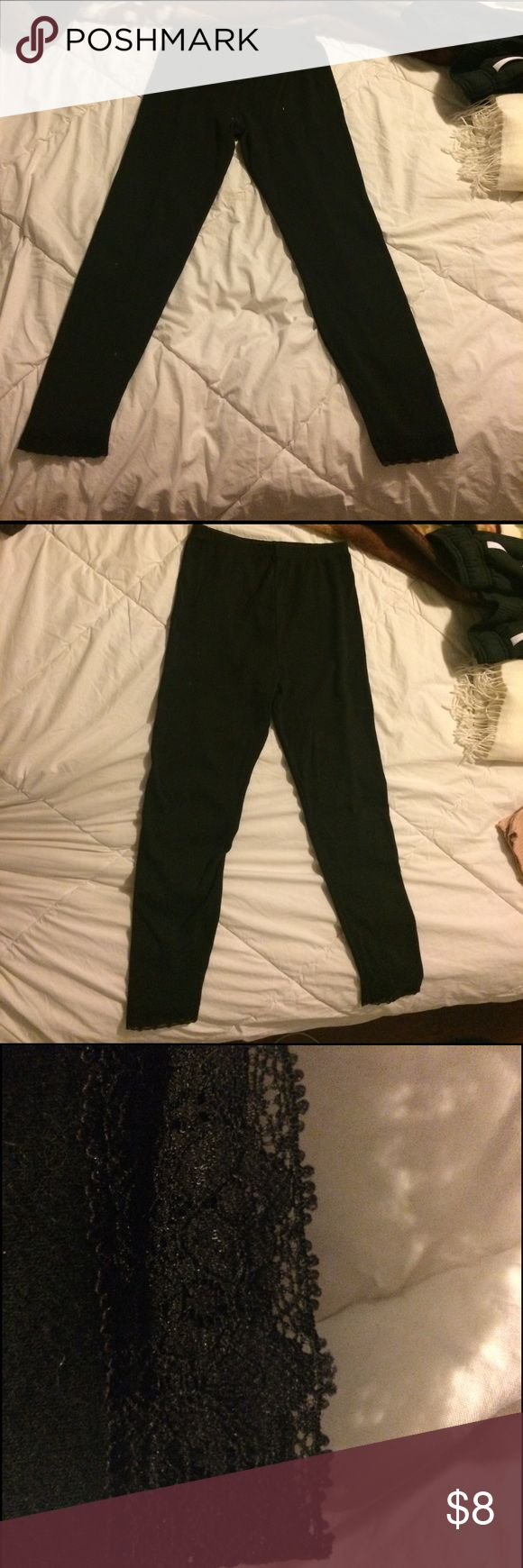Girls black leggings Girls black leggings with cute lace at the bottom (see picture)  very comfortable. Large 10/12 Bottoms Leggings