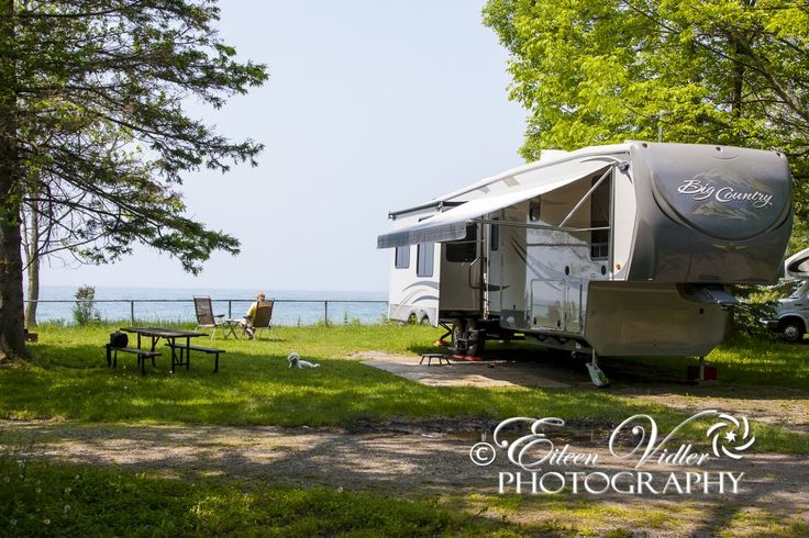 Our campsite at Darlington Provincial Park right along Lake Ontario