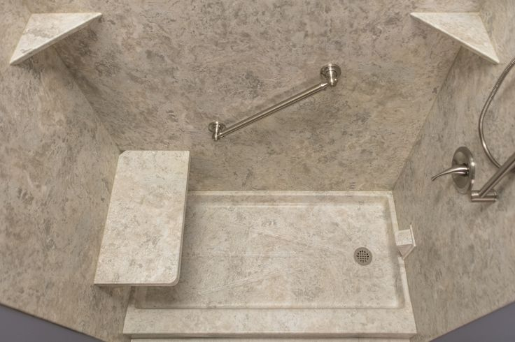 San Michele Wall Surrounds, Matching Shower Pan, Bench Seat, And Corner  Shelves