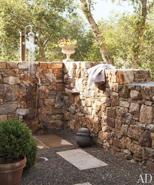 104 best images about diy outdoor shower on pinterest for Outdoor rock shower