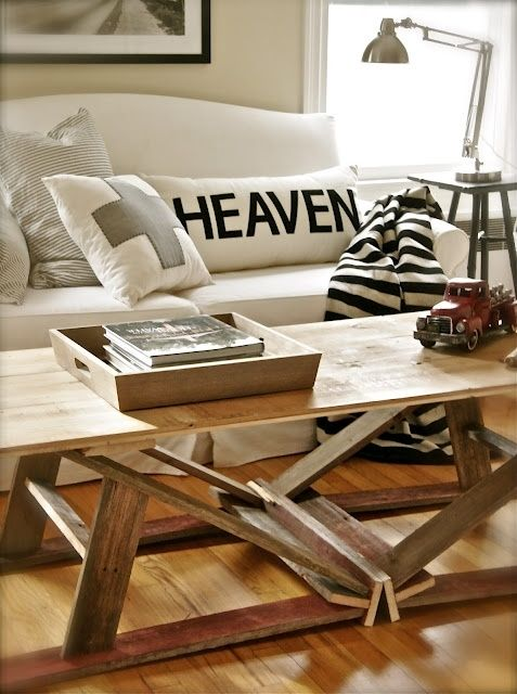 Best Sawhorse Ideas Images On Pinterest Coffee Tables - Charming vintage diy sawhorse coffee table
