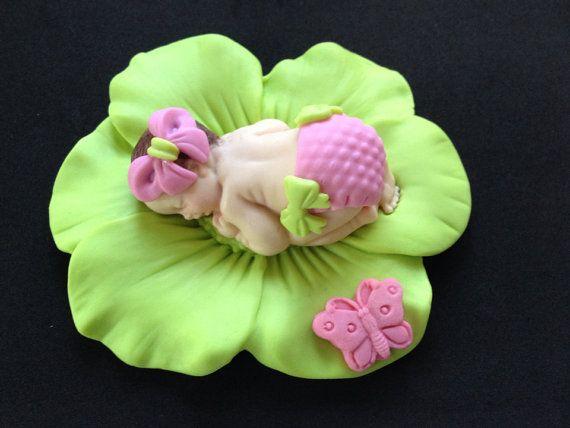 Fondant bebé niña cal rosa de la torta para Baby Shower, cumpleaños, Favor de…