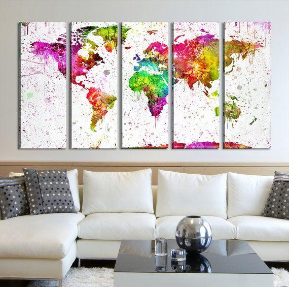 Completo mondo Splash acquerello mappa tela parete arte stampa