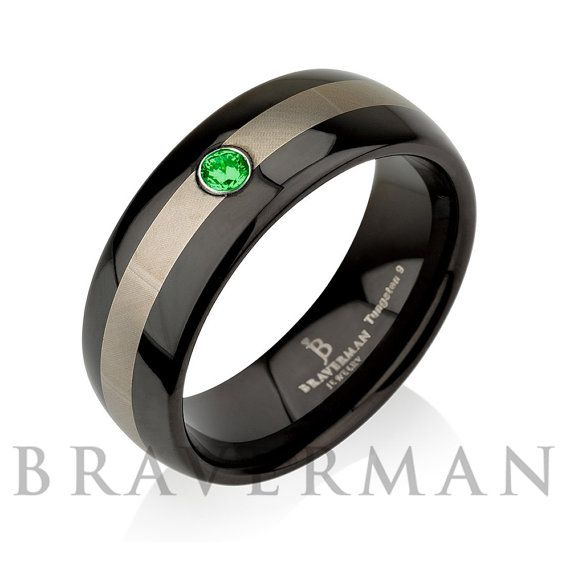 Apple Green Emerald Tungsten Wedding Band,Silver Man Tungsten Wedding Ring,Black…