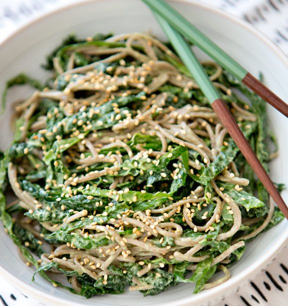 This Kale Noodle Bowl with Avocado Miso Dressing has as much flavor and heartiness as your go-to noodle takeout, but with way less guilt.