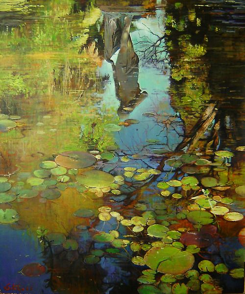 lily pond oil painting