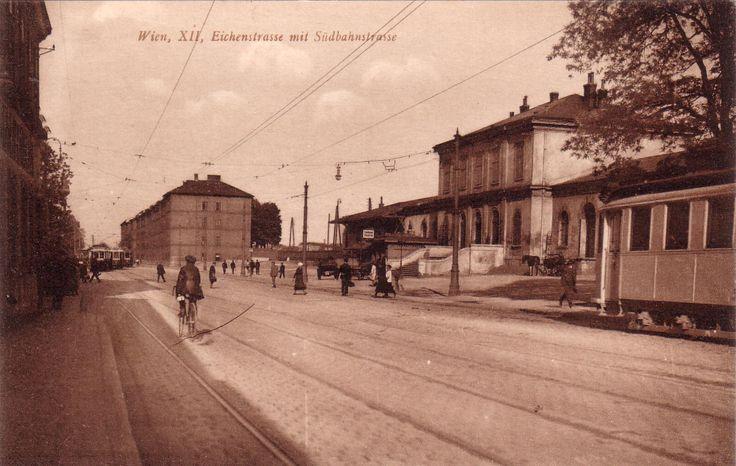 Wien Meidling, Eichenstraße mit Bhf. Meidling um 1900.