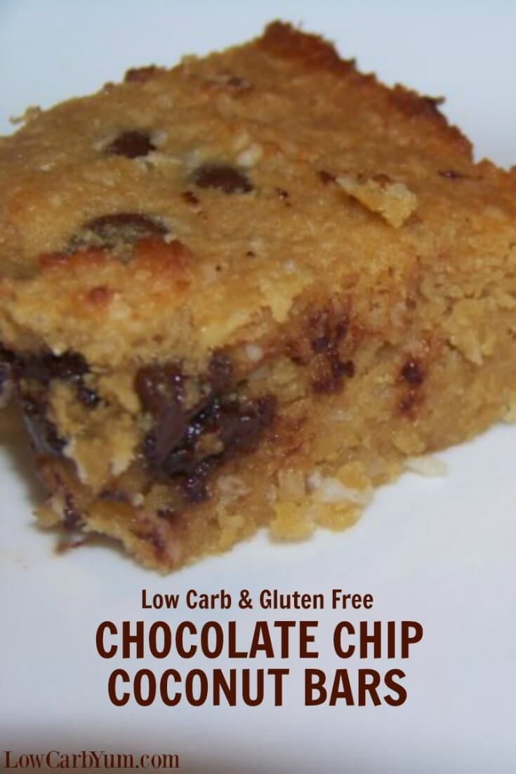 These chocolate chip coconut bars are similar to chocolate chip bars, but with a coconut based batter. Delicious to eat fresh out of the oven.   LowCarbYum.com