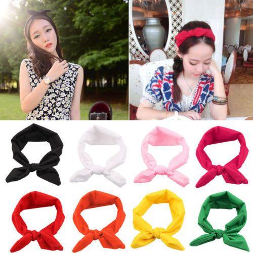 Fashion Women Yoga Elastic Cute Bow Hairband Turban Knotted Hair Band Headband