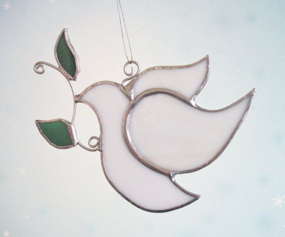 White Peace Dove Stained Glass Suncatcher Christmas Ornament