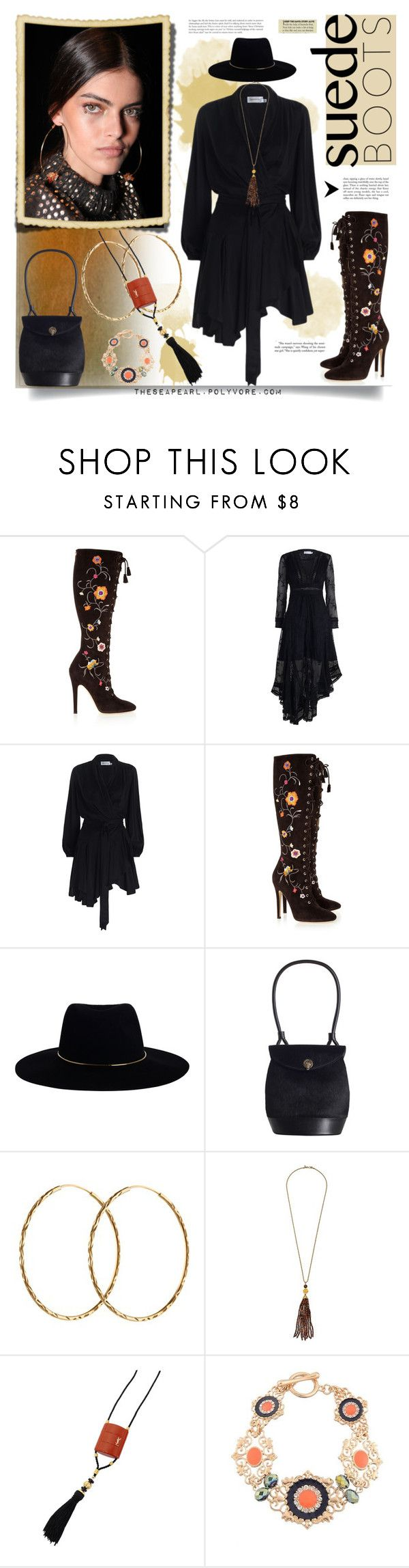 """Corazon Gitano (Song)"" by theseapearl ❤ liked on Polyvore featuring Jimmy Choo, Zimmermann, Pernille Corydon, Kenneth Jay Lane, Yves Saint Laurent, vintage, jimmychoo, zimmerman, vintagejewelry and suedeboots"