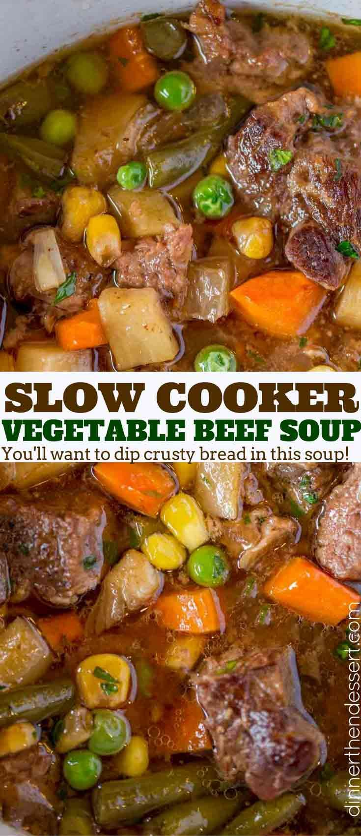 Slow Cooker Vegetable Beef Soup with is the most comforting, EASY soup you'll make. You'll want to dip crusty bread into the amazing flavors in this soup! #soup #beef #slowcooker #crockpot #comfortfood