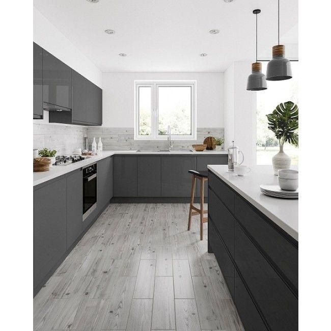 Rowan Wood Effect Grey Woodeffect Kitchen Interiors Tiles Modern Grey Kitchen Grey Kitchen Floor Classic White Kitchen