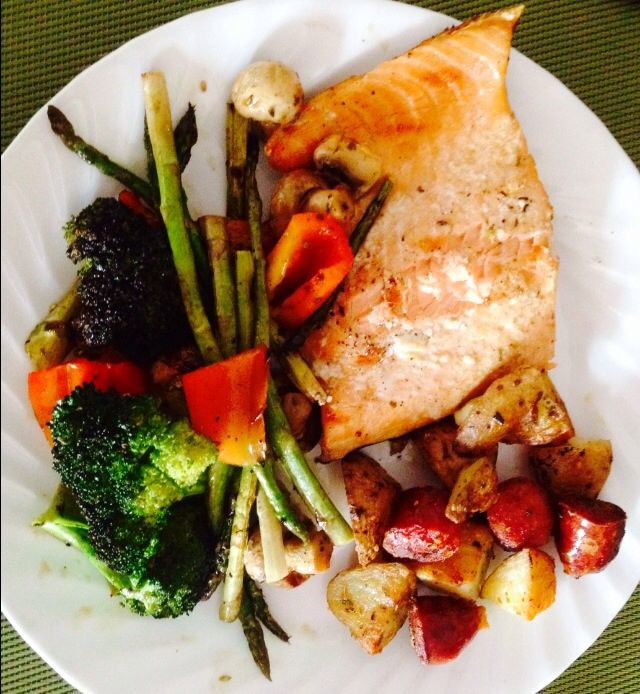 Grilled Salmon with Vegetables, Potatoes, and Chorizo.