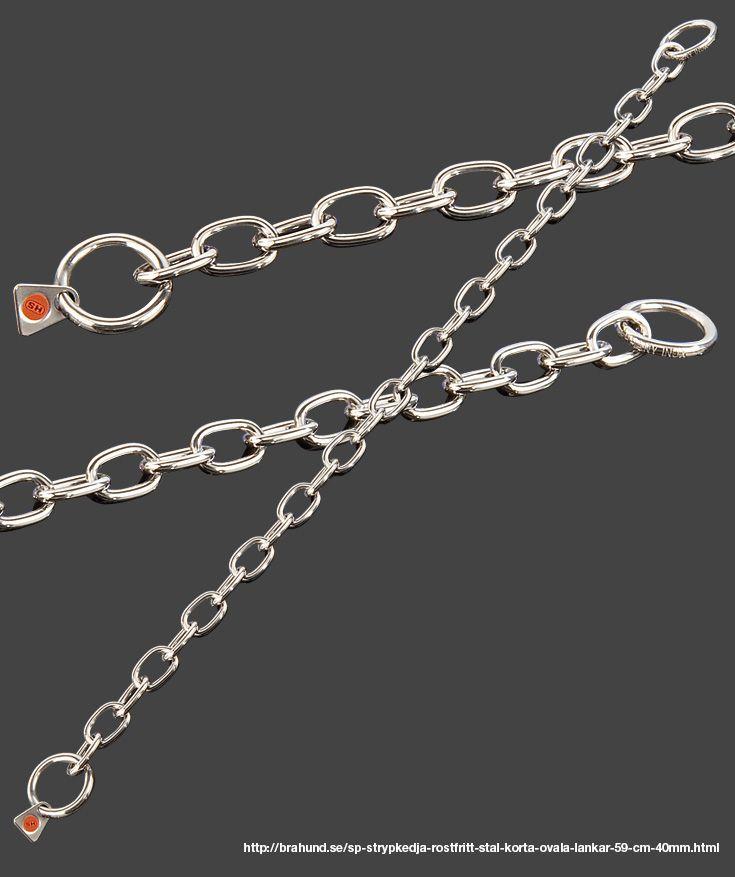 SP Strypkedja, rostfritt stål, korta ovala länkar 59 cm, 4.0mm. Fabrikat Sprenger, Tyskland. Enkelt glider den medelstora rostfria länken genom ringen. Idealisk för arbete med hunden. Lämplig för kort- och långhårs hundar på grund av länkarnas storlek och