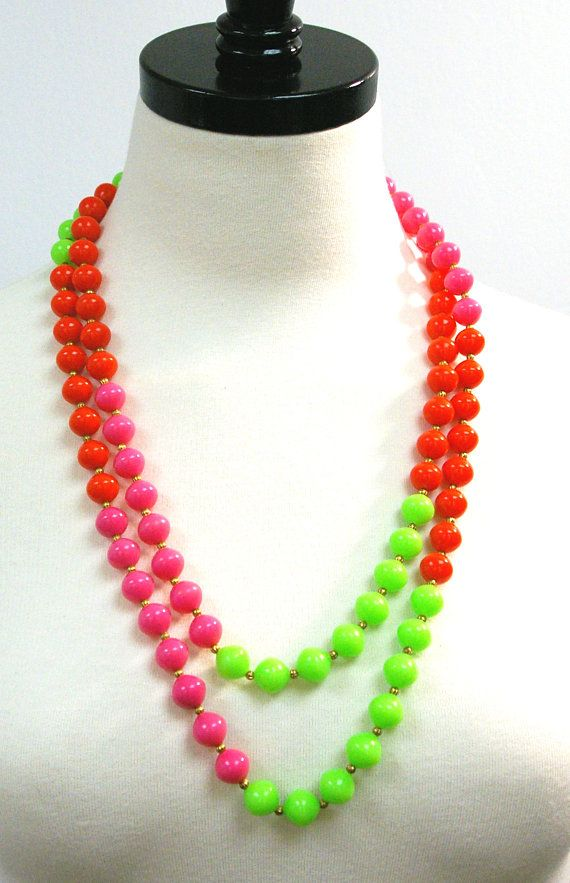 Vintage Neon Necklace, 80s Long Bead Necklace, Neon Pink Red Green Opera Length Summer Necklace, Single Strand Wrap Necklace  Perfect for summer! I adore the colors and being one long strand, it is so versatile! Wrap it or wear it long. It will brighten up your summer wardrobe. 66 long from end to end, 33 drop when worn.  Neon pink, green and red with little gold tone spacer beads.  #getflourished #vintage #vintagejewelry #longnecklace #neon #80s #summer