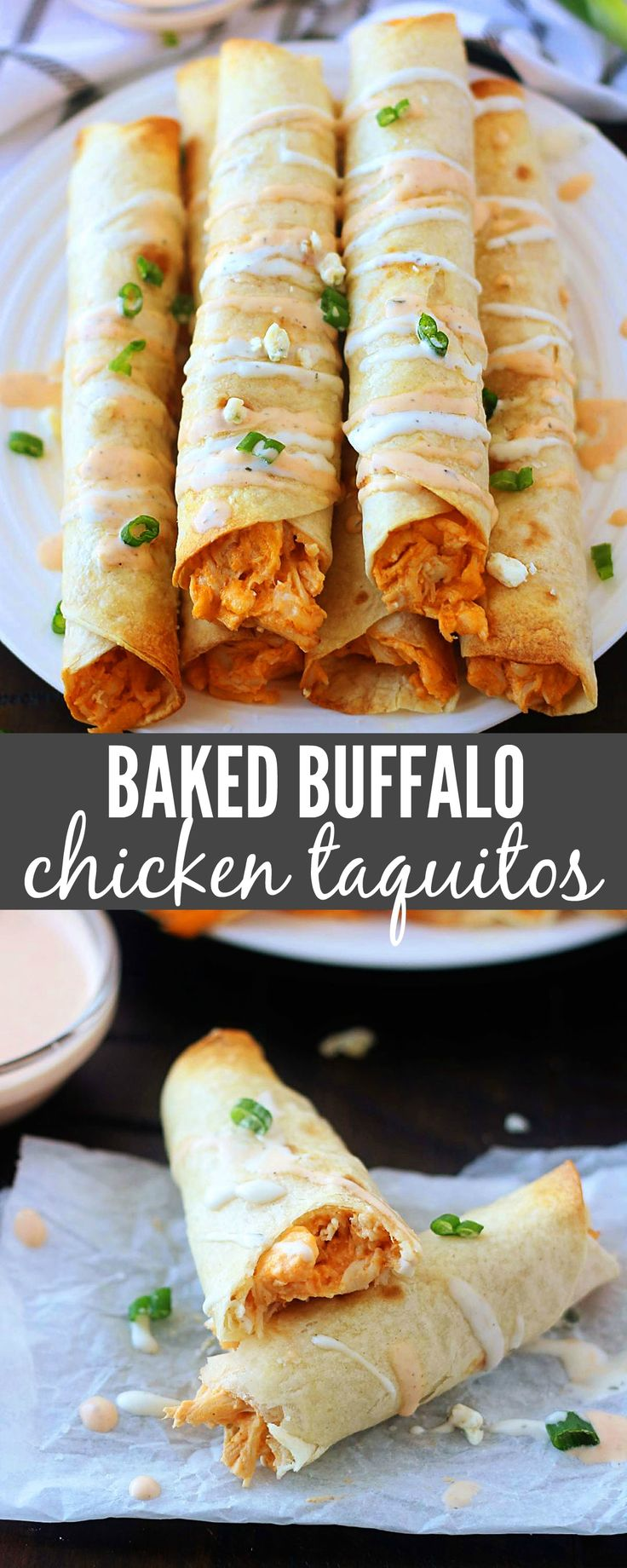These Baked Buffalo Chicken Taquitos are a family favorite. Filled with shredded chicken, cream cheese, ranch dressing, wing sauce and sharp cheese. . . these are crazy good and so simple to make.