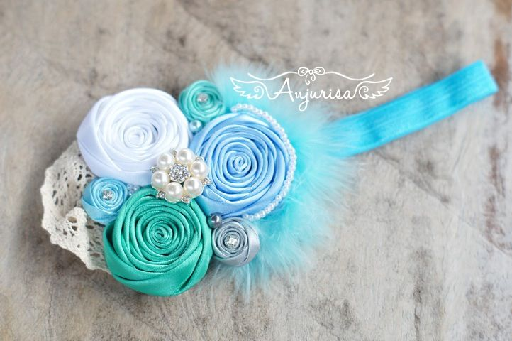 Handmade headband, rosette, rosebud, ribbon flower DIY