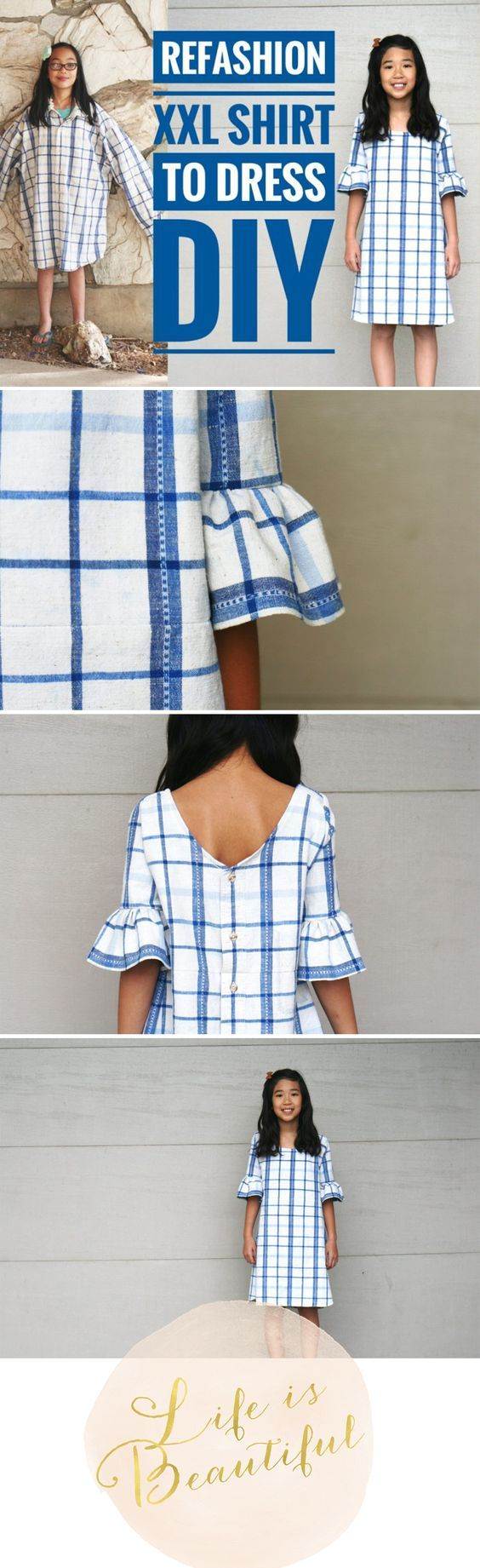 Refashion XXXL Shirt to bell sleeve dress.